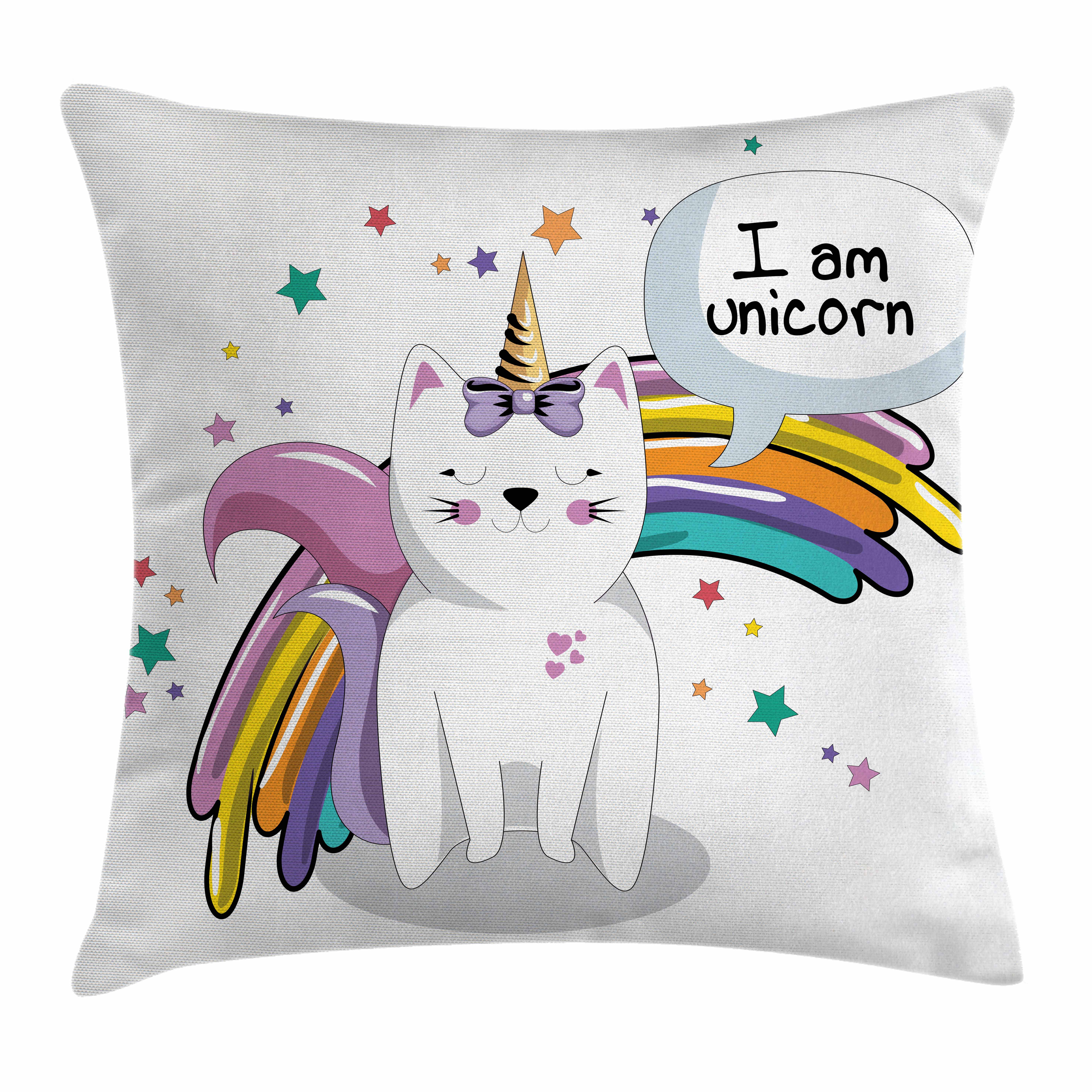 Unicorn Cat Throw Pillow Cushion Cover, Fairy Animal with Ice Cream Cone Bow Stars and Rainbow Kids Imagination Fiction, Decorative Square Accent Pillow Case, 16 X 16 Inches, Multicolor, by Ambesonne