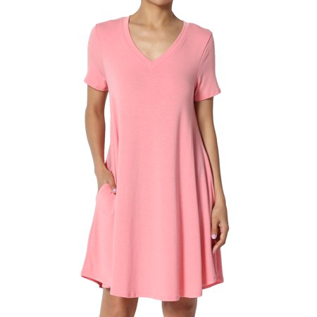- TheMogan Women's S~3X Short Sleeve V-Neck Draped Trapeze Pocket Short Tunic Dress