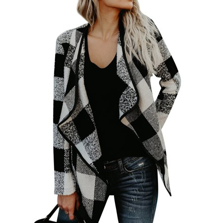 Gauge Three Quarter Sleeve Cardigan (STARVNC Women Long Sleeve Plaid Coat Asymmetric Hem)