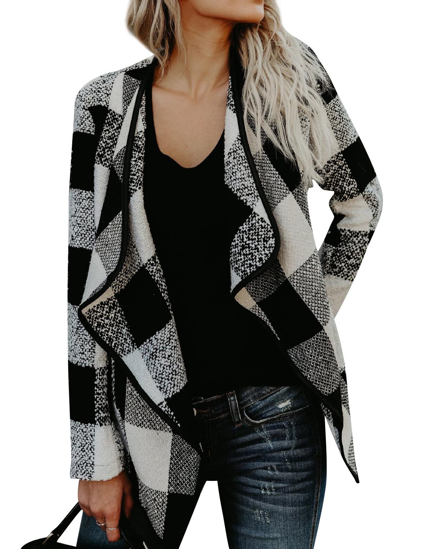 STARVNC Women Long Sleeve Plaid Coat Asymmetric Hem Cardigan
