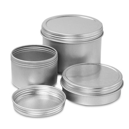 24ea - 1 Oz Metal Screw Top Deep Round Tin Can-Pkg by Paper Mart](Small Metal Tins)