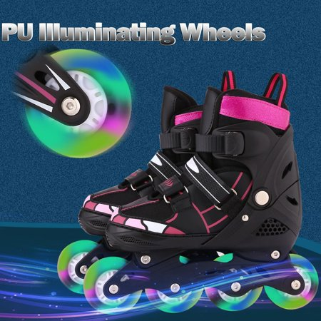 In Line Speed Skating Wheels (Adjustable Inline Skates for Kids with Light Up Wheels by Hifashion)