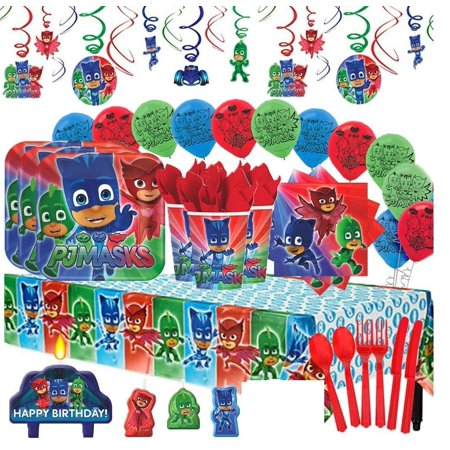 PJ Masks Mega Deluxe Party Supplies Pack for 16 (Packer Party Supplies)