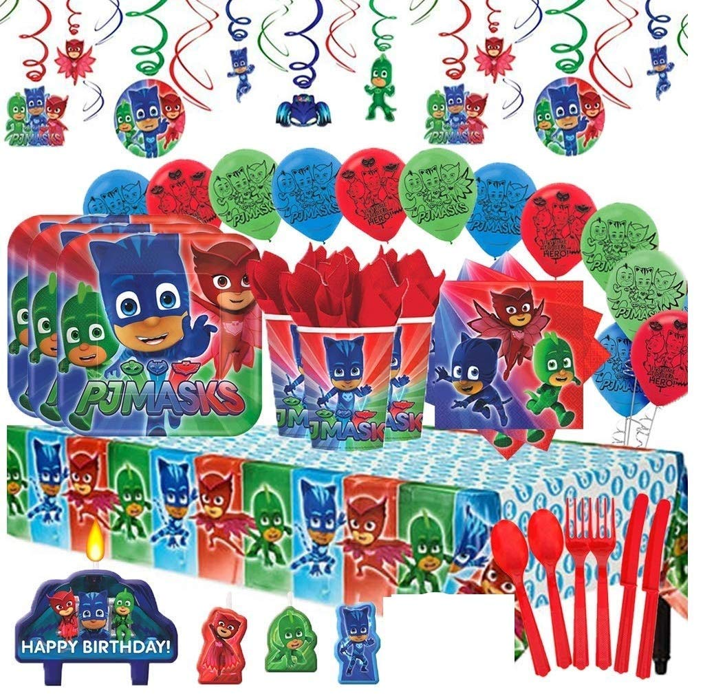 PJ Masks Mega Deluxe Party Supplies Pack for 16