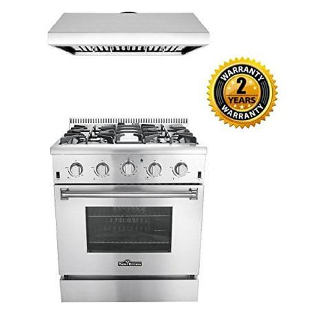 Thor Kitchen 2 Piece Kitchen Package With 30   Pro Style 4 Burner Stainless Steel Gas Range Hrg3080u  And 30   Under Cabinet Range Hood Stainless Steel Hrh3006u