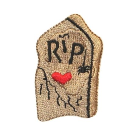 Two Halloween Headstones (ID 0857A Headstone RIP Patch Tomb Graves Halloween Embroidered Iron On)