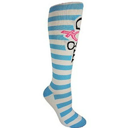 """Blue and White Knee-High """"GO Girl!"""" Fitness Deadlfit Socks"""
