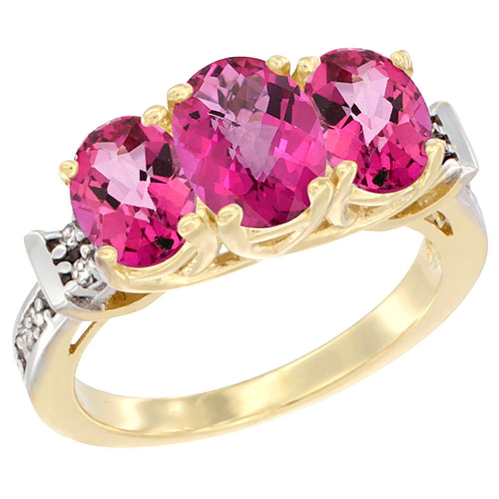 10K Yellow Gold Natural Pink Topaz Ring 3-Stone Oval Diamond Accent, sizes 5 10 by WorldJewels
