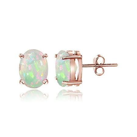 Rose Tourmaline Earrings (Rose Gold Tone over Sterling Silver 0.30ct Ethiopian Opal 5x3 Oval Stud Earrings)