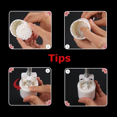 Moaere Round Moon Cake Mold Flower Stamps DIY Mooncake Mould Tool - image 6 of 9
