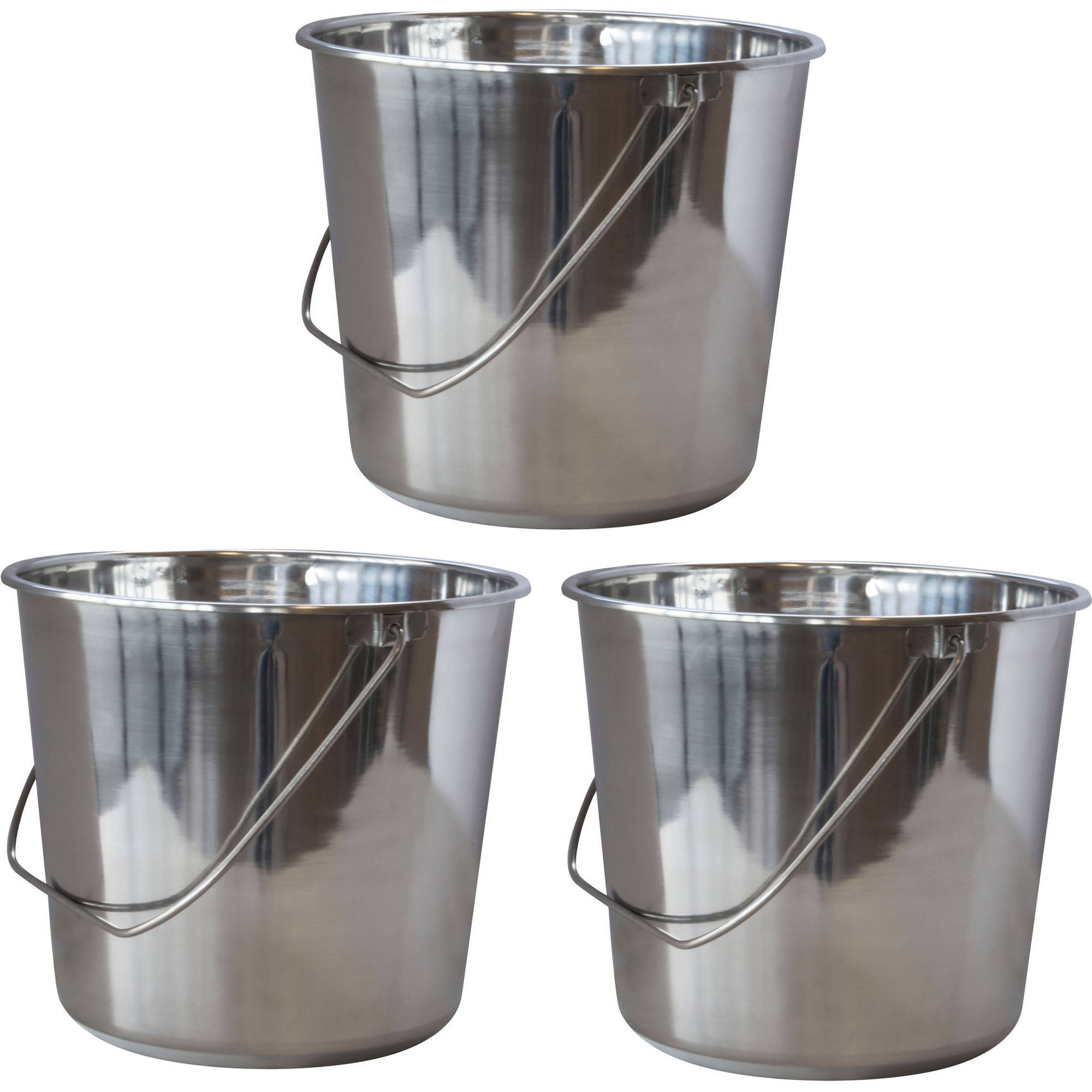 AmeriHome Large Stainless Steel Bucket Set, 3-Piece