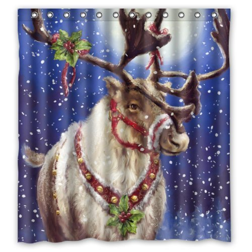 GreenDecor Christmas Reindeer Waterproof Shower Curtain Set with Hooks Bathroom Accessories Size 66x72 inches