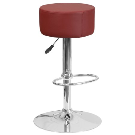 Flash Furniture Contemporary Round Backless Vinyl Adjustable Barstool with Chrome Base ()