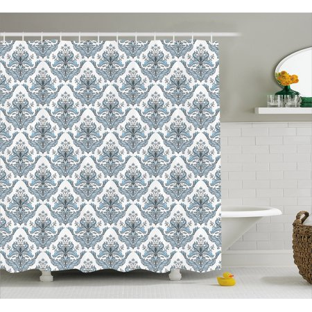 Winter Shower Curtain, Damask Inspired Classical Flowers Botanical ...