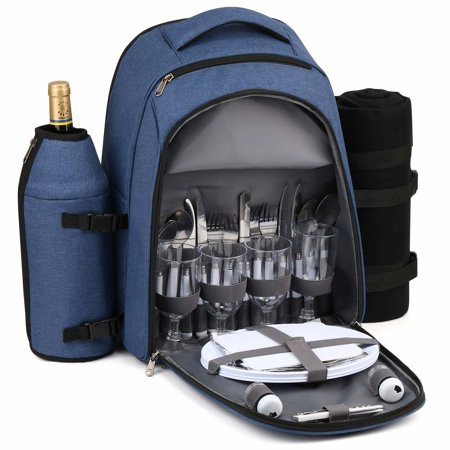 Gonex Picnic Backpack for 4 Person with Cutlery Set, Cooler Compartment, Waterproof Blanket, Detachable Wine Holder (Blue)