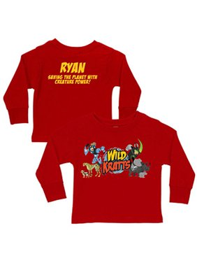 Personalized Creature Adventure Toddler Boy Red Long-Sleeve Shirt