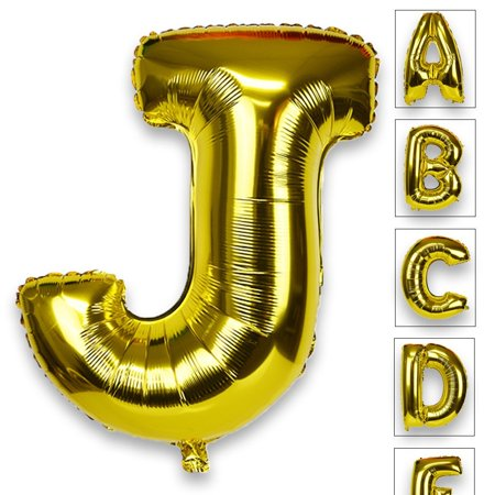 Just Artifacts Glossy Gold (30-inch) Decorative Floating Foil Mylar Balloons - Letter: J - Letter and Number Balloons for any Name or Number Combination! - Balloon With Name On It