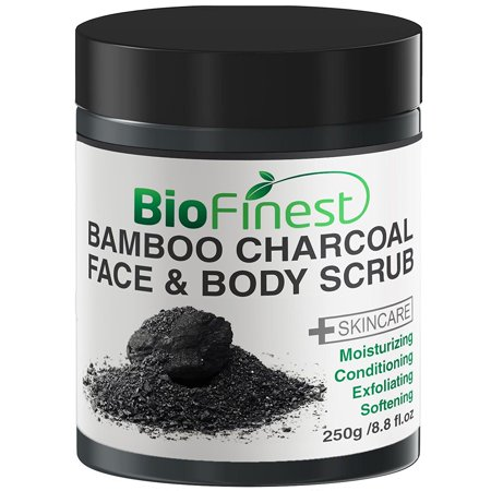 Biofinest Activated Bamboo Charcoal Body Scrub - with Dead Sea Salt, Shea Butter, Jojoba Oil, Vitamin E- Best For Dry Skin/ Cellulite/ Stretch Marks (250g) ()