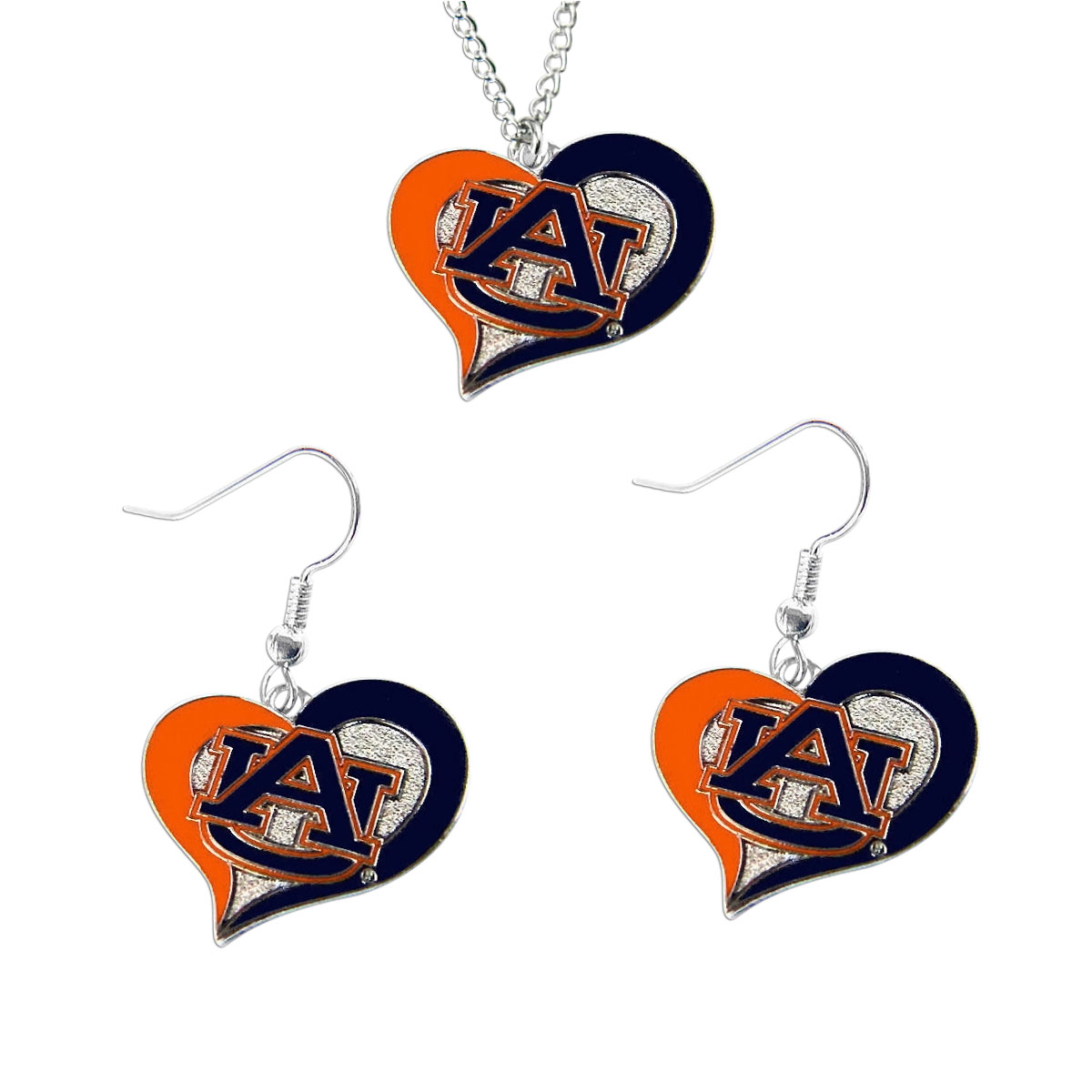 Auburn Tigers NCAA Swirl Heart Pendant Necklace And Sports Team Logo Earring Set Charm Gift