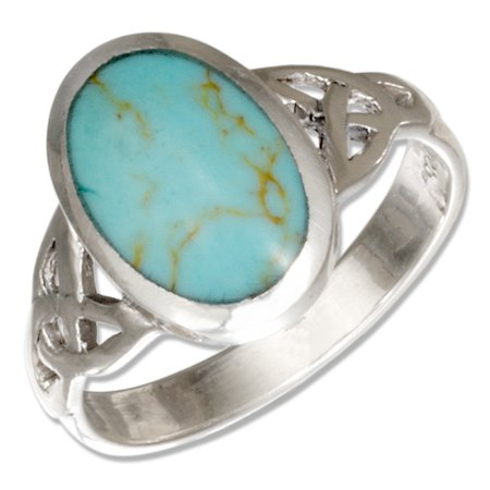 STERLING SILVER OVAL SIMULATED TURQUOISE RING WITH CELTIC TRINITY KNOTS