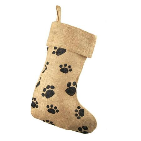 Animal Paw Print Burlap Christmas Stocking, Natural, 17-Inch
