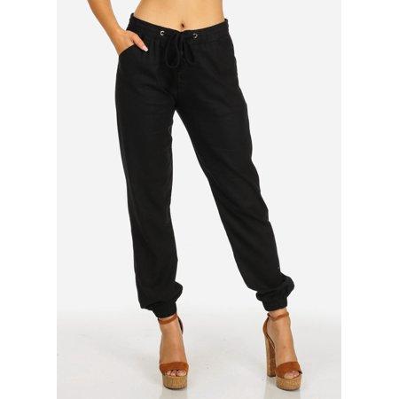 Womens Juniors High Rise Black Drawstring Waist 2-Pocket Skinny Linen Pants 10986N