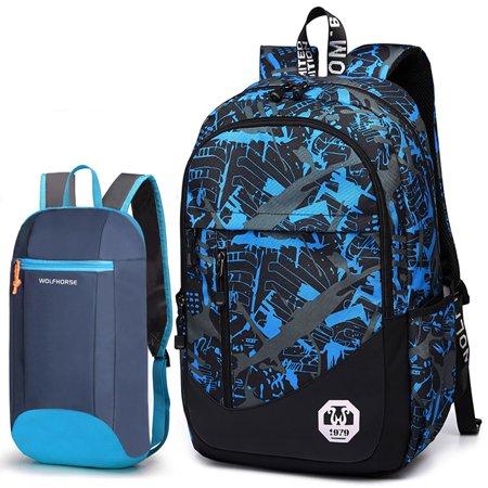 Backpack, 2Pc Oxford School Backpack Book Bag Laptop Bag Sling Bag Set Men's Casual Backpack School College Travel Backpack for Boys