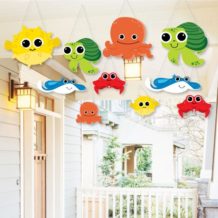 Hanging Under The Sea Critters - Outdoor Hanging Decor - Baby Shower or Birthday Party Decorations - 10 Pieces (Under The Sea Baby Shower Decorations)