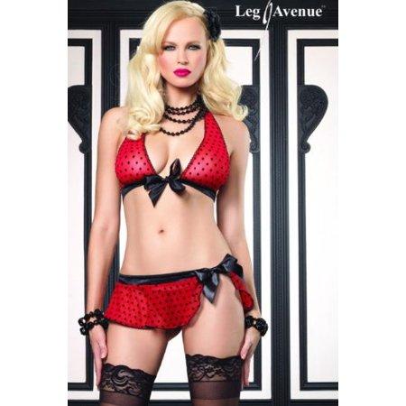 Top Skirt G-string - 3Pc Mesh Polka Dot Tie Front Halter Top, Skirt, G-String (Red/Black;Small/Med...