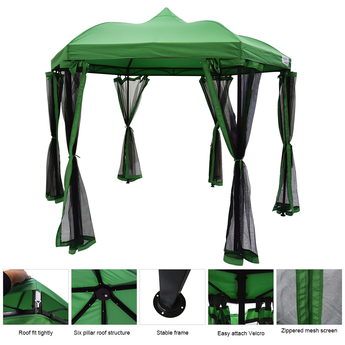 Quictent Hexagon Metal Gazebo Screened Grill Gazebo Canopy Waterproof Patio Shelter  8.7 ft