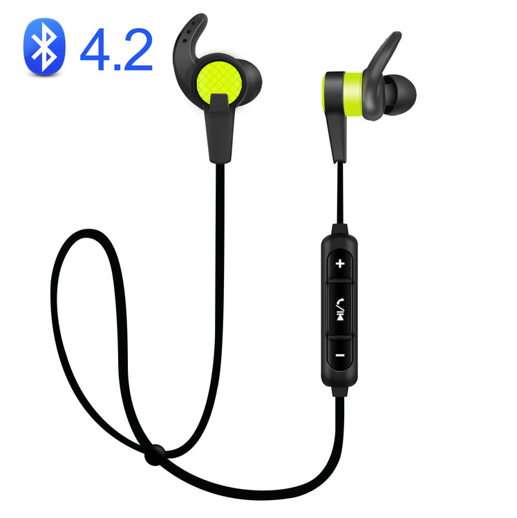 Bluetooth Headphones In Ear Wireless Earbuds 4.1 Magnetic Sweatproof Stereo Bluetooth Earphones for Sports With Mic (Upgraded 7 Hours Play Time, Secure Fit, Noise Cancelling) - Green