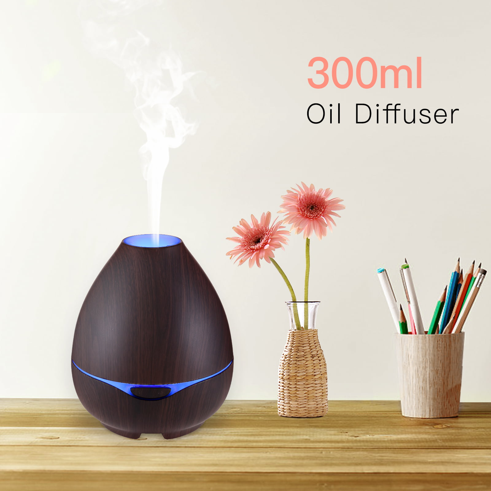 20.5oz Aroma Essential Oil Diffuser Ultrasonic Aromatherapy Humidifier w Light by Uenjoy