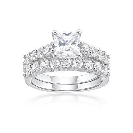 - Sterling Silver Squared Simulated Diamond Bridal Set Ring