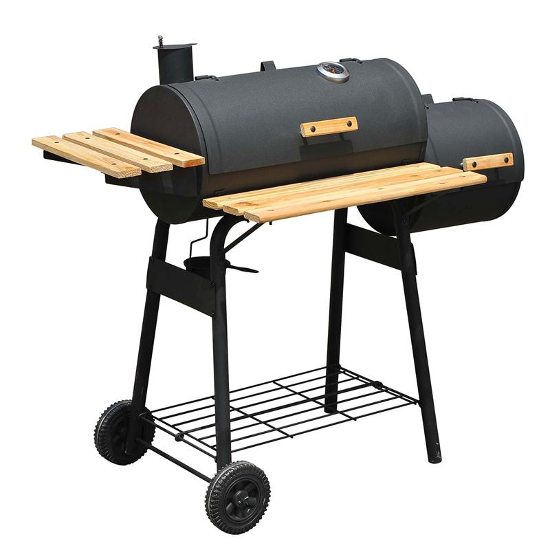 Outsunny 01-0329 Backyard Charcoal BBQ Grill/Offset Smoker Combo with Wheels