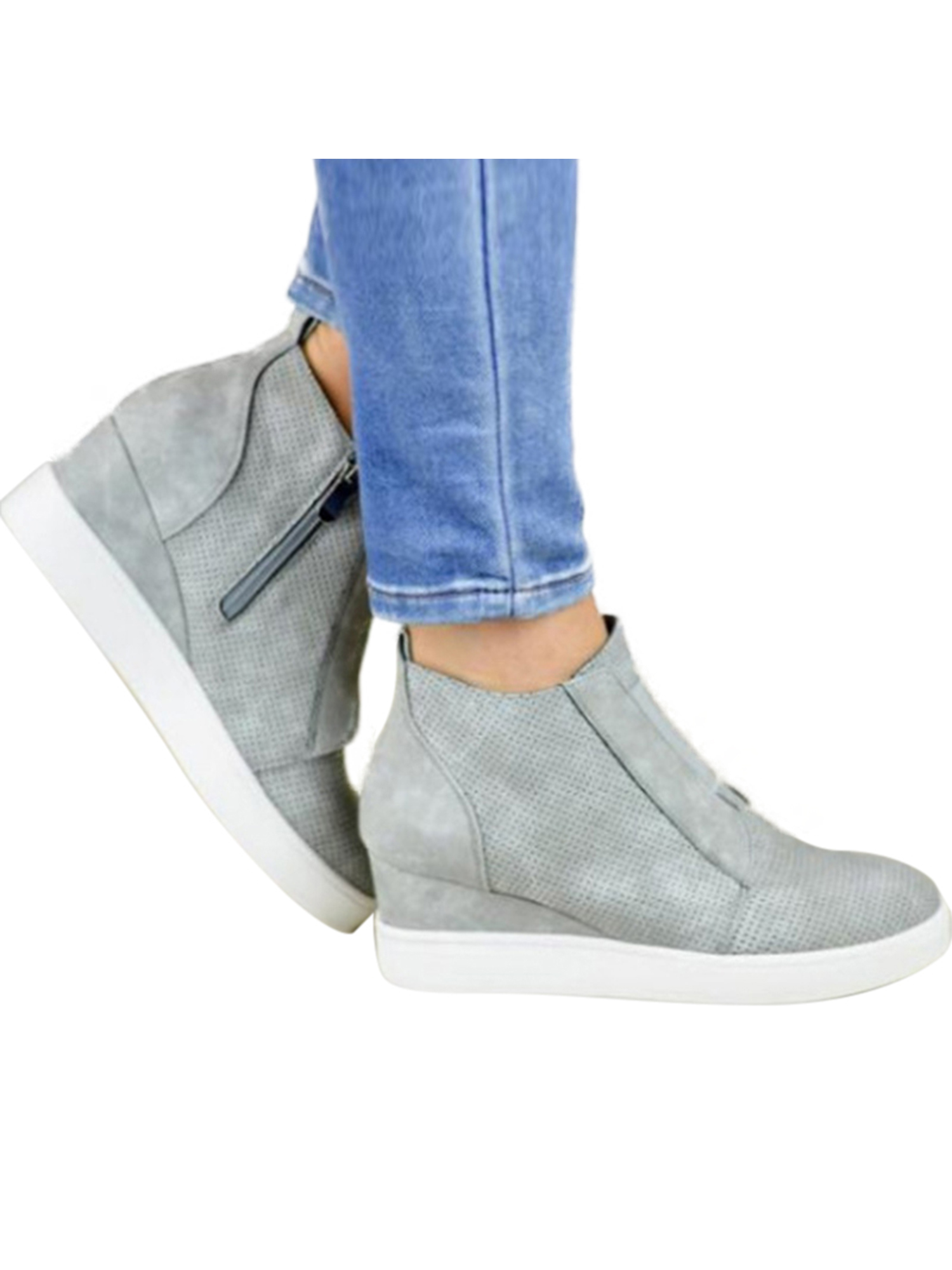Women Zipper Low Heel Ankle Boots Wedge