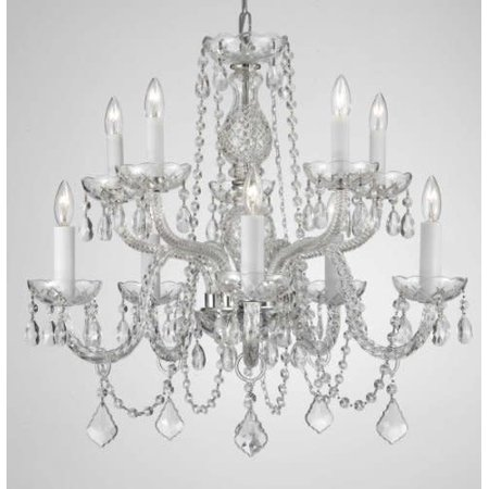 Gallery T40-134 Clear 10 Light 2 Tier Crystal Candle Style Chandelier Williamsburg Style Chandelier