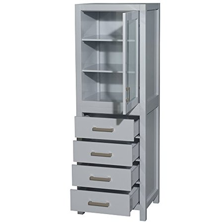 Shelved A/v Cabinet - Wyndham Collection Sheffield 24 inch Linen Tower in Gray with Shelved Cabinet Storage and 4 Drawers