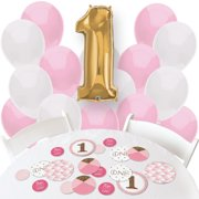 Fun to be One - Girl 1st Birthday - Confetti and Balloon Birthday Decorations - Combo Kit