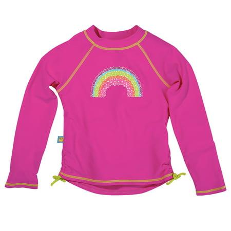 Sun Smarties Baby and Toddler Girl Rashguards - Hot Pink - Long Sleeve