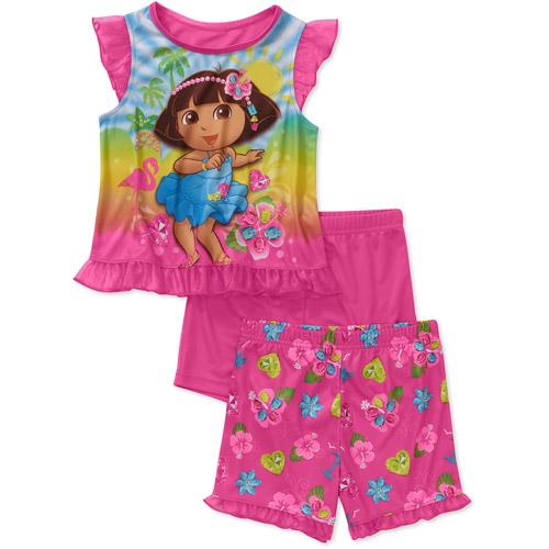 Nickelodeon Baby Girls' Dora 3 Piece Short Sleeve Pajama Set