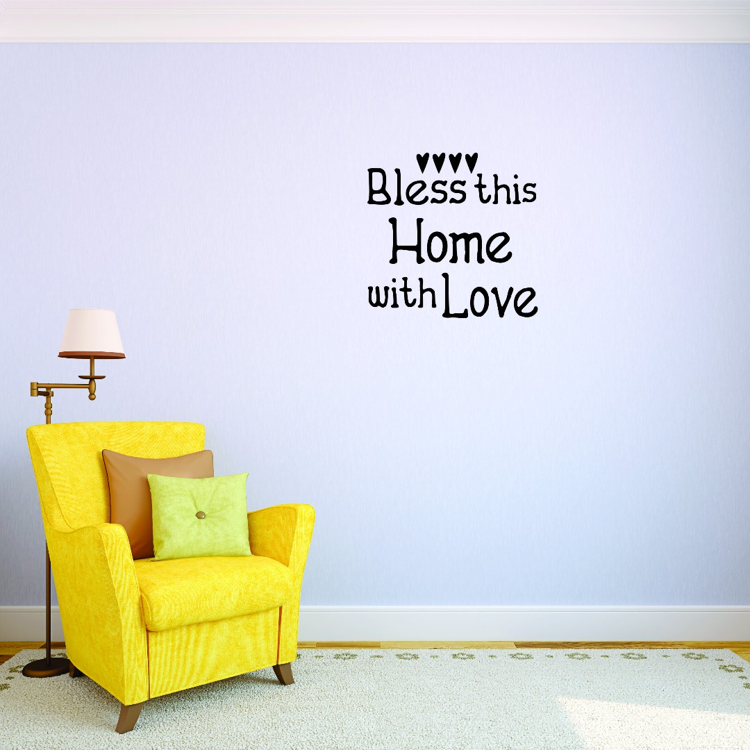 Bless this home with Love Decoration Picture Art Vinyl Wall Decal 12x12 Inches