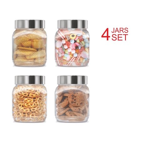 Plastic Jars Set; Milton Food Storage Containers Clear Square Lightweight PET Canisters; Airtight Lids Caps; 67 Oz 4-Pack - Baby Food Jars Halloween Craft