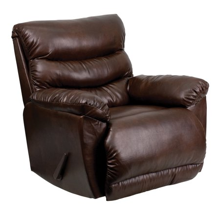 Offex Contemporary Tonto Espresso Bonded Leather Chaise Rocker Recliner Armchair