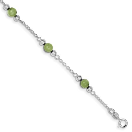 925 Sterling Silver 9 Inch Green Jade Anklet Ankle Beach Chain Bracelet Gifts For Women For Her