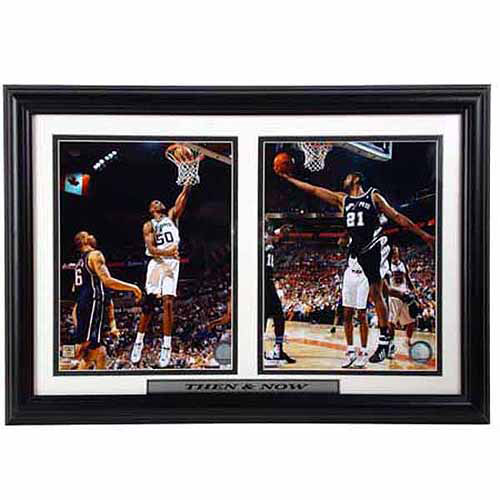 NBA San Antonio Spurs Then and Now 12x18 Double Frame