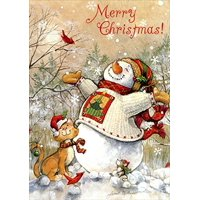 Snowman and Cat: Winter Bliss - Box of 18 Christmas Cards