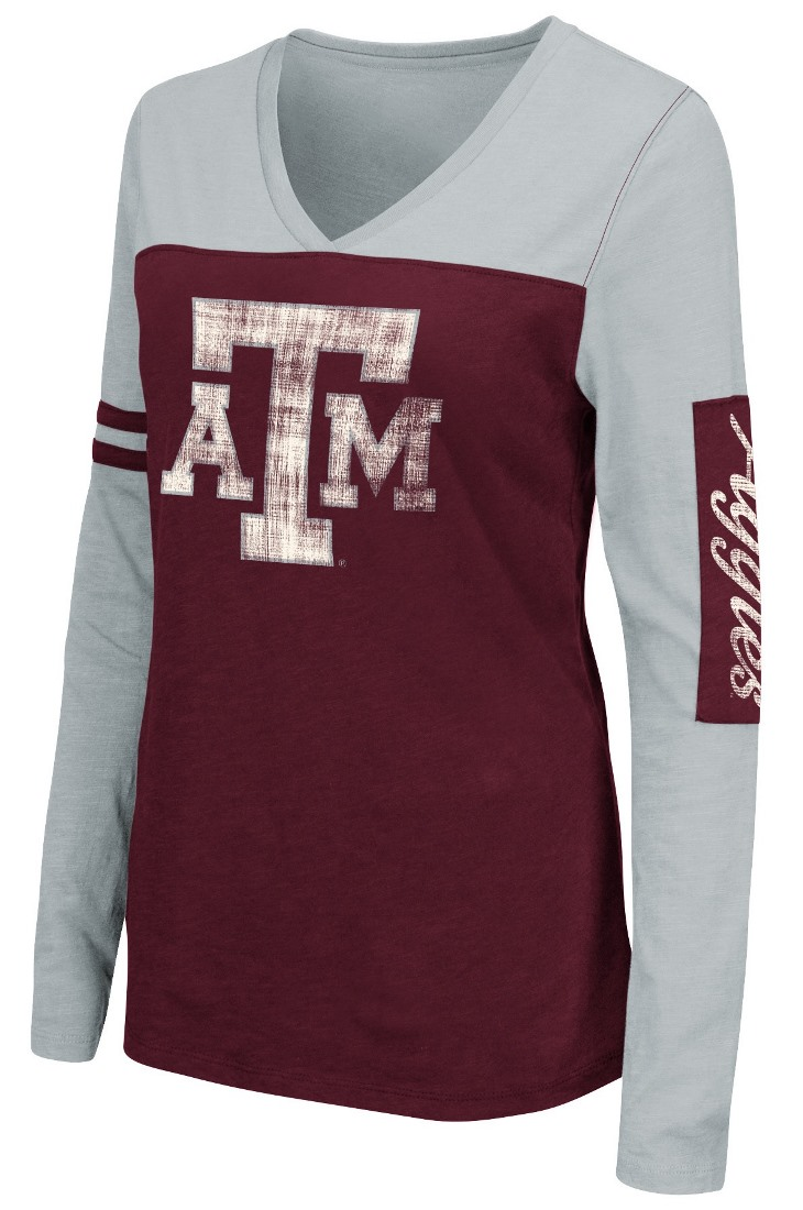 "Texas A&M Aggies Women's NCAA ""Whatevs"" Long Sleeve V-Neck T-Shirt by Colosseum"