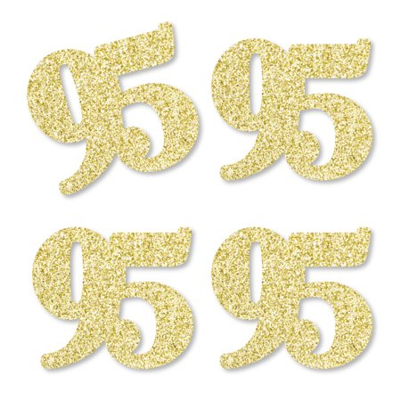 Gold Glitter 95 - No-Mess Real Gold Glitter Cut-Out Numbers - 95th Birthday Party Confetti - Set of 25