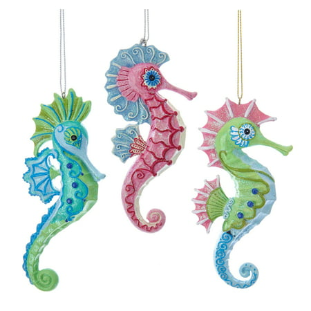 - Kurt Adler Mermaid Fantasy Pink Green Blue Seahorses  Holiday Ornaments Set of 3
