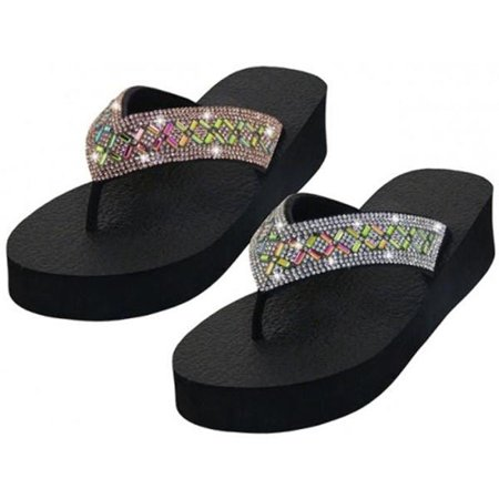 Easy USA 2327198 DDI Womens EVA Wedge with Multi Stones on Strap Top Sandals, Silver & Rose Gold - Size 6-11 - Case of 24